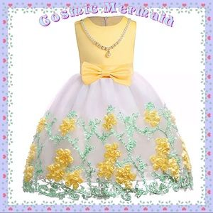 Other - Yellow🆕💛Floral Princess Pearl & Bow Tutu Dress💛